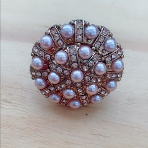Oversized pink pearl ring